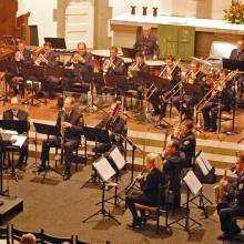 Das Bundespolizeiorchester Hannover unter der Leitung von Franco Hänle .